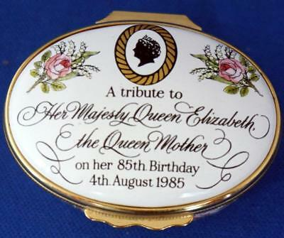 Halcyon Days Enamel Trinket Box Queen Mother 85th Birthday Limited Edition