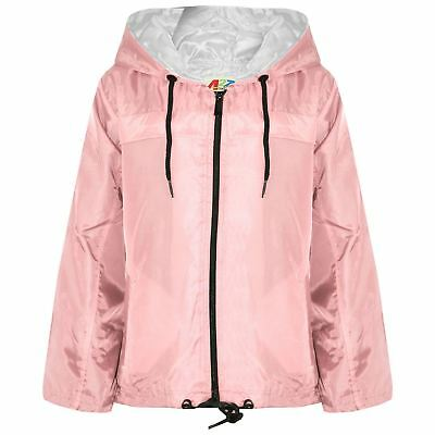 Kids Girls Boys Baby Pink Hooded Raincoats Cagoule Lightweight Jackets Rain Mac