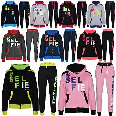 Kids Girls Boys Designer #Selfie Jogging Suit Hooded Tracksuit Tops Joggers 7-13