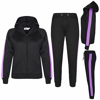 Kids Girls Boys Tracksuit Plain Fleece Hooded Hoodie Bottom Joggers Jogging Suit