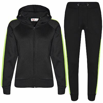 Kids Girls Boys Jogging Suit Plain Fleece Hooded Hoodie Bottom Tracksuit Joggers