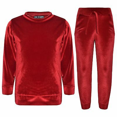 Girls Lounge Suits Kids Velvet Velour Top & Bottom Lounge Wear Tracksuit 5-13 Yr