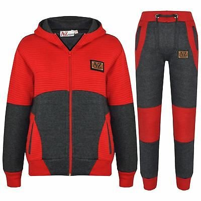 Boys Girls Jogging Suit Kids Designer Charcoal & Red Tracksuit Zipped Top Bottom