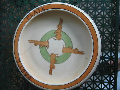 Antique Vtg Roseville Pottery BABY'S PLATE w/Bunny Bunnies 8""