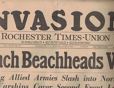 D-DAY INVASION Rochester NY Times Union June 6 1944 French Beachheads Won
