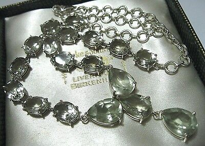 Vintage Edwardian Style Large Solid Silver Green Amethyst Stone Drop NECKLACE