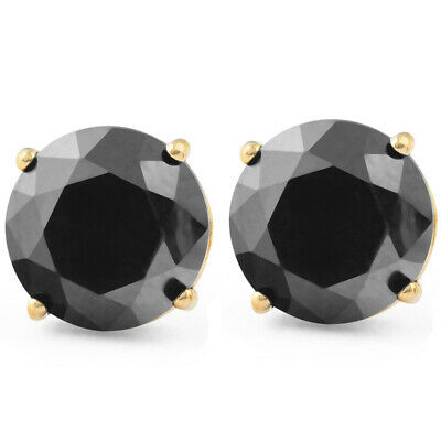2 Ct Black Diamond Studs 14k Yellow Gold Earrings