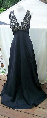 Glamorous Vintage Gaymode Full Length Nylon Lacy Black Negligee Nightgown Small