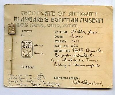 Ancient Egyptian Bead Amulet AMON RA on BLANCHARD'S MUSEUM CARD 1890's w/ Horus