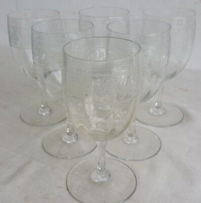 Suite de 6 VERRES a VIN debut XXe CRISTAL Grave Crystal Krystal Wine Glass set