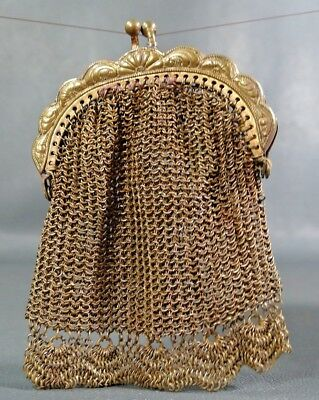 1900s Victorian Antique Mesh Pouch Chain Link Evening Clutch Coin Purse Lady Bag