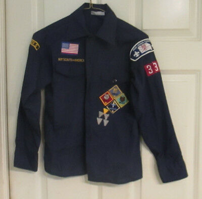 vintage Cub Scout shirt with rank insignia Mid-Iowa Council size 12, USA made