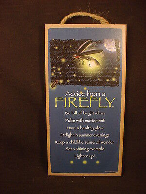ADVICE FROM A FIREFLY wood INSPIRATIONAL SIGN wall NOVELTY PLAQUE Lightning Bug