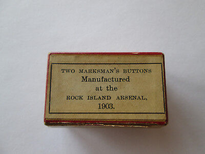 Us Army Marksman's Buttons Rock Island Arsenal 2 Buttons In Original Box 1903