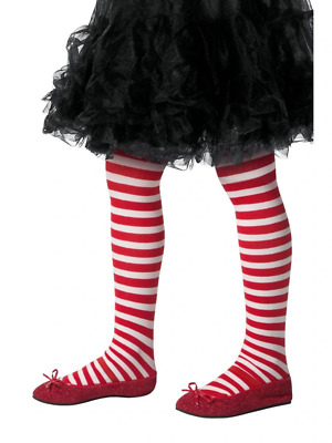 Striped Tights Childs Kids Girls Red & White Halloween Fancy Dress Accessory