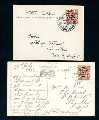 1922/23  Ireland Postcard  with overprinted  1 1/2d values  (2)   (Au629)