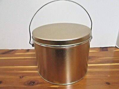 "Decorative COPPER TIN BUCKET with LID and HANDLE - 5.5"" tall x 6.5"" diameter-NEW"