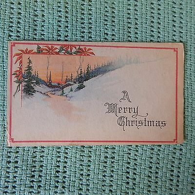 Vintage Postcard A Merry Christmas, Winter Scene With Stream And Church