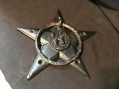 Cast Iron Rustic STAR W/HORSESHOE & HEAD DOOR KNOCKER / TOWEL RING (A003)
