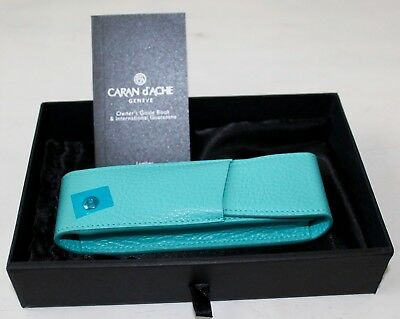 Caran D'ache Leman Turquoise Blue Leather 2-Pen Holder 6202.171