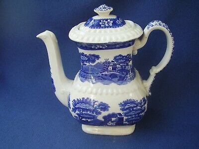 Copeland  *spodes Tower*  Staffs. - Large Coffee/teapot - Blue & White Ware -Vgc