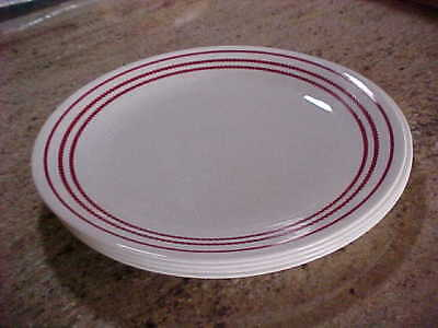 """Four (4) Corning Corelle RUBY RED Dinner Plates 10 1/4"""" - Nice"""