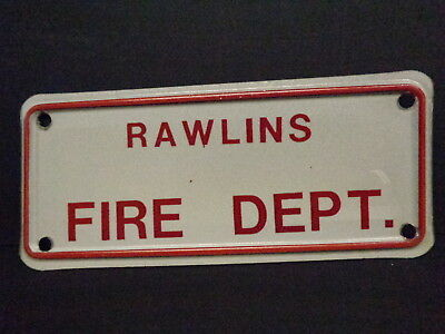 Rawlins (Wy) Fire Department Vintage License Plate, Metal, Smaller Size, L@@k !!