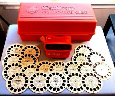 Viewmaster - Lot Of 19 Sharp Kid's Reels With Collector's Case And Red Viewer
