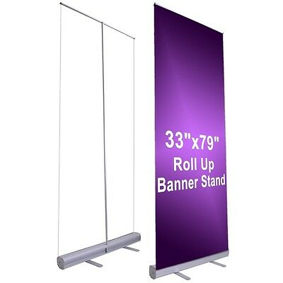 "Professional 33""x79"" Retractable Roll Up Banner Stand Trade Show Signage Display"