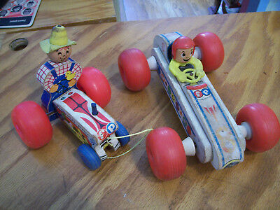 Vintage 1960s 2x Fisher Price Bouncy Racer and #629 Tractor toys used condition