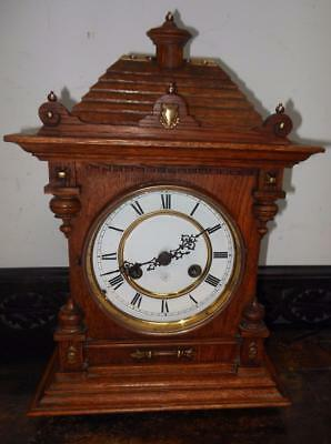 junghans oak and brass striking bracket clock c1900s
