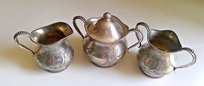 3 pc.Vintage Wilcox Silverplate Creamer and Sugar bowl and Spooner