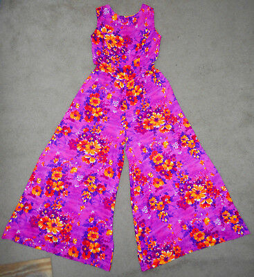 VTG 60s KOLINA Hawaiian Barkcloth JumpSuit ROMPER Suit PINK Floral Pants Dress S