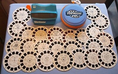 Viewmaster - Lot Of 24 Kid's Reels With Hard Shell Reel Case & Sharp Blue Viewer