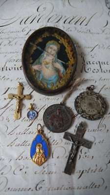 Batch Sweet Antique French Religious Medals, Relic Cross C1900 Attic Find