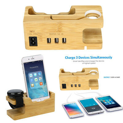 Wooden Charging Station 3-Port Bamboo Docking Rack For iWatch/ iPhone