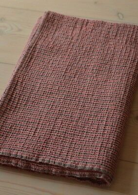"LINEN Cotton Pink Gray Striped Bath Spa Beach Waffle TOWEL 28"" x 51"" Made in EU"
