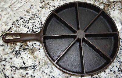 Wagner Ware Divided Cornbread Wedge Skillet Pan Cast Iron Vtg Antique