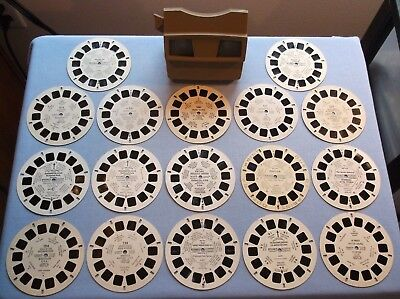 Viewmaster Lot Of 17 Reels From Around The U.s.a. With Nice Brown Viewer