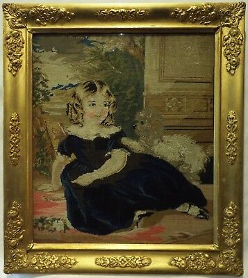 MID/LATE 19TH CENTURY PETIT-POINT OF A YOUNG GIRL WITH HER PET DOG - c.1870
