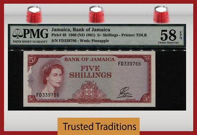 "Tt Pk 49 1960 Jamaica 5 Shillings ""queen Elizabeth Ii"" Pmg 58 Epq Choice About!"