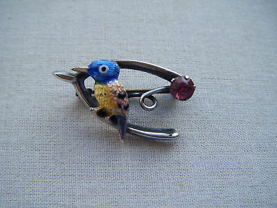 Vintage silver guilloche enamel exotic bird wishbone diamante brooch pin C1940s
