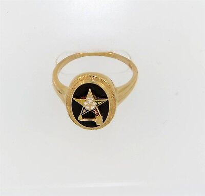 Vintage Eastern Star Black Onyx 14k Gold Ring w/ Gavel Mason Masonic No Reserve
