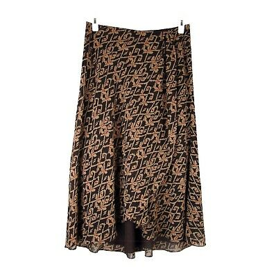 CHAPS Skirt 10 Faux Wrap Long Layered High Low A-line Lined Chiffon Easy Care
