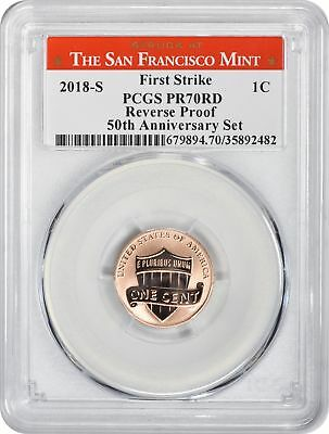 2018-S Lincoln Cent Reverse Proof PR70RD PCGS First Strike San Francisco Label