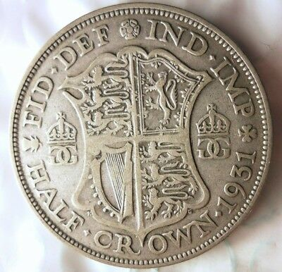 1931 GREAT BRITAIN 1/2 CROWN - Excellent Vintage Silver Coin - Lot #88