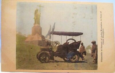 1905 Postcard Oldsmobile At Summit Of Andes Mountains,front Of Christ Monument