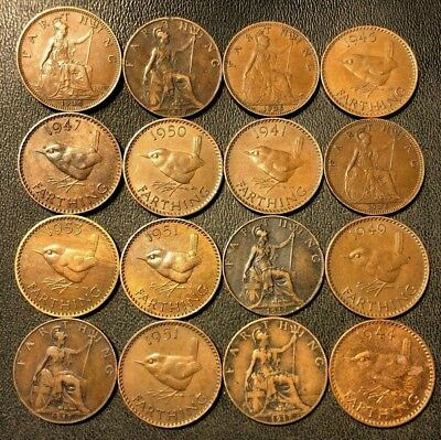 Vintage Great Britain Coin Lot! 16 Farthings - 1917-1953 - Great Group - Lot #88