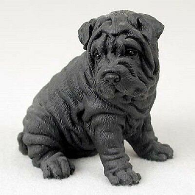 SHAR-PEI Dog HAND PAINTED FIGURINE Resin Statue COLLECTIBLE Black Shar Pei Puppy