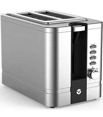 Toaster 2 Slice Stainless Steel - Retro For Bagels With Wide Slots Large Bread